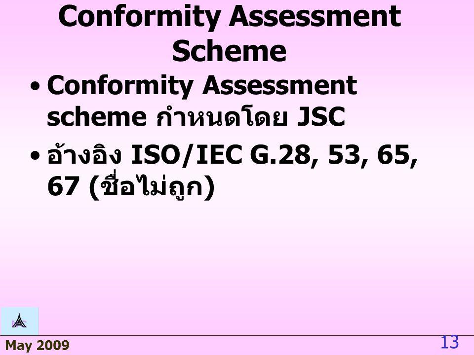 May 2009 13 Conformity Assessment Scheme Conformity Assessment scheme กำหนดโดย JSC อ้างอิง ISO/IEC G.28, 53, 65, 67 ( ชื่อไม่ถูก )