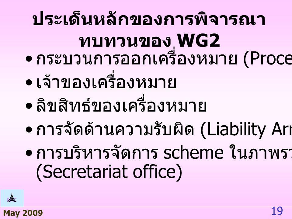 May 2009 19 ประเด็นหลักของการพิจารณา ทบทวนของ WG2 กระบวนการออกเครื่องหมาย (Procedure) เจ้าของเครื่องหมาย ลิขสิทธ์ของเครื่องหมาย การจัดด้านความรับผิด (Liability Arrangement) การบริหารจัดการ scheme ในภาพรวม (Secretariat office)