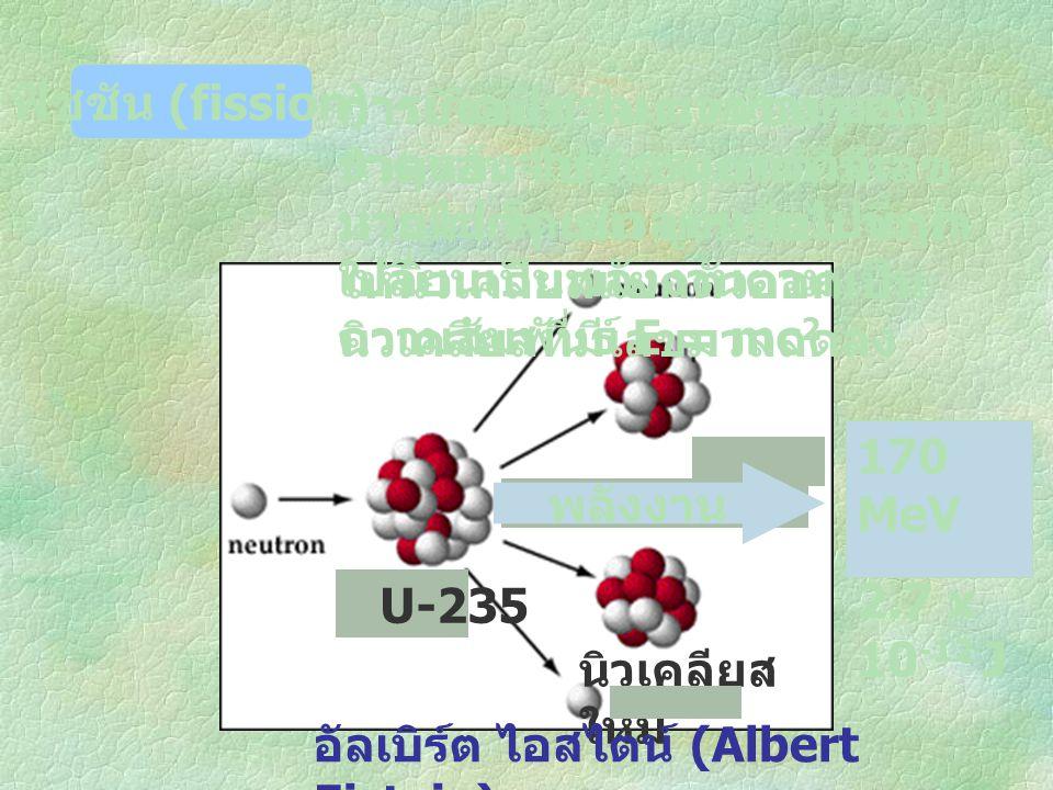 U-235 นิวเคลียส ใหม่ การยิงอนุภาคมวนน้อยๆ เช่น นิวตรอน ไปยังอนุภาคที่มีเลข มวลมากๆ เช่น ยูเรเนียม จะทำ ให้นิวเคลียสแยกตัวออกเป็น นิวเคลียสที่มีเลขมวลล