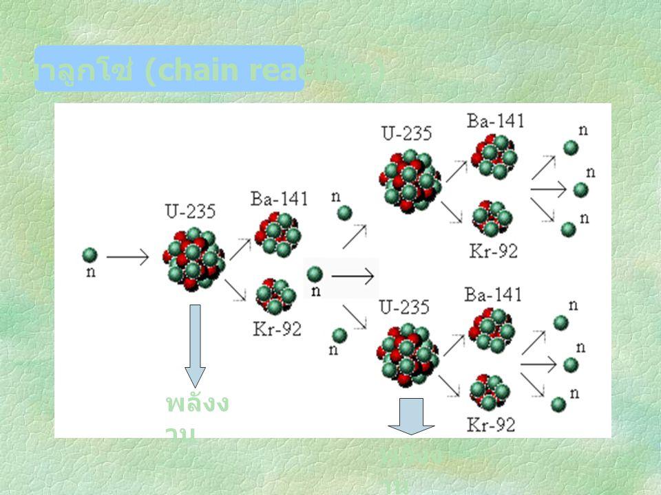ปฏิกิริยาลูกโซ่ (chain reaction) พลังง าน