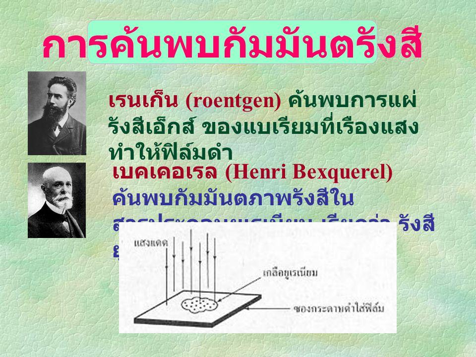 แรงนิวเคลียร์ (nuclear force) นิวตรอ น โปรตอ น แรงที่ยึดอนุภาคไว้ ในอะตอม ถ้ามีแรงที่กระทำแล้ว ทำให้เกิดการ เปลี่ยนแปลงภายใน นิวเคลียส เรียกว่า ปฏิกิริยานิวเคลียร์ (nuclear reaction)