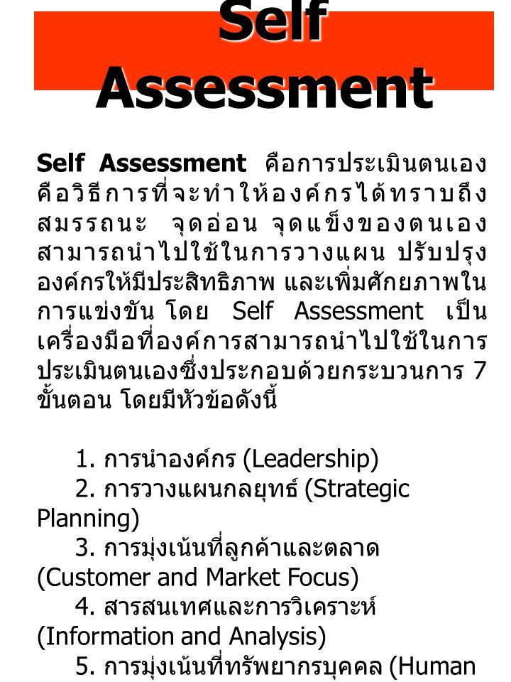 Self Assessment Self Assessment Self Assessment คือการประเมินตนเอง คือวิธีการที่จะทำให้องค์กรได้ทราบถึง สมรรถนะ จุดอ่อน จุดแข็งของตนเอง สามารถนำไปใช้ในการวางแผน ปรับปรุง องค์กรให้มีประสิทธิภาพ และเพิ่มศักยภาพใน การแข่งขัน โดย Self Assessment เป็น เครื่องมือที่องค์การสามารถนำไปใช้ในการ ประเมินตนเองซึ่งประกอบด้วยกระบวนการ 7 ขั้นตอน โดยมีหัวข้อดังนี้ 1.
