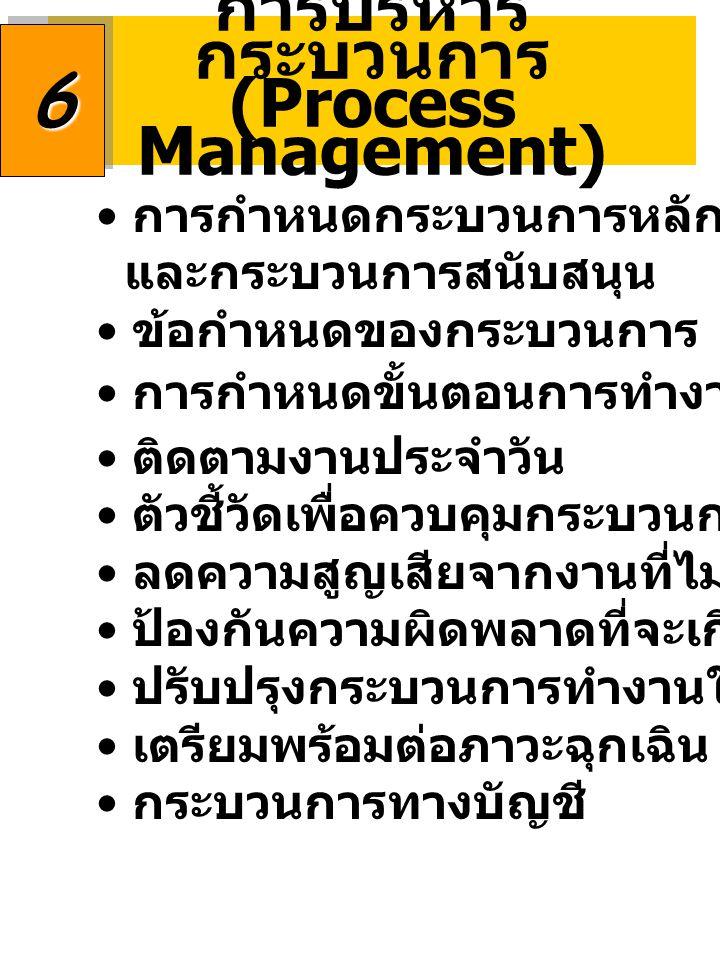 การบริหาร กระบวนการ (Process Management)66 การกำหนดกระบวนการหลัก และกระบวนการสนับสนุน ข้อกำหนดของกระบวนการ การกำหนดขั้นตอนการทำงาน ติดตามงานประจำวัน ตัวชี้วัดเพื่อควบคุมกระบวนการ ลดความสูญเสียจากงานที่ไม่สร้างมูลค่าเพิ่ม ป้องกันความผิดพลาดที่จะเกิดขึ้น ปรับปรุงกระบวนการทำงานให้ดีขึ้น เตรียมพร้อมต่อภาวะฉุกเฉิน กระบวนการทางบัญชี