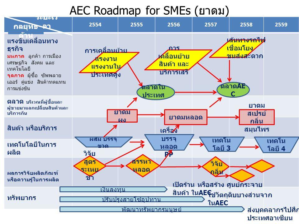AEC Roadmap for SMEs ( ยางรถยนต์ ) 255425552556255725582559 แรงขับเคลื่อนทาง ธุรกิจ มหภาค ลูกค้า การเมือง เศรษฐกิจ สังคม และ เทคโนโลยี จุลภาค ผู้ซื้อ ซัพพลาย เออร์ คู่แข่ง สินค้าทดแทน การแข่งขัน ตลาด บริเวณที่ผู้ซื้อและ ผู้ขายมาแลกเปลี่ยนสินค้าและ บริการกัน สินค้า หรือบริการ เทคโนโลยีในการ ผลิต ผลการวิจัยผลิตภัณฑ์ หรือความรู้ในการผลิต ทรัพยากร ยาง รถยนต์ เครื่อง ขึ้นรูป ยาง อัตโนมั ติ ยาง รถจักรยาน ยนต์ ยาง รถแข่ง ผส ม เทคโน โลยี 3 เทคโน โลยี 4 เงินลงทุน ปรับปรุงสายโซ่อุปทาน พัฒนาทรัพยากรมนุษย์ เส้นทางรถไฟ เชื่อมโยง ขนส่งสะดวก การเคลื่อนย้าย แรงงาน แรงงานใน ประเทศศูง ตลาดใน ประเทศ ตลาด AE C สร้าง ศูนย์กระจายสินค้า ใน AEC ใช้วัตถุดิบบางส่วนจาก ใน AEC ส่งบุคคลากรไป ศึกษาหรือดูตลาด ที่ประเทศ AEC สรรหา Mold วิจัย สูตร วิจัย กลิ่น กลยุทธ์ ด้าน ระยะเว ลา การ เคลื่อนย้าย สินค้า และ บริการเสรี