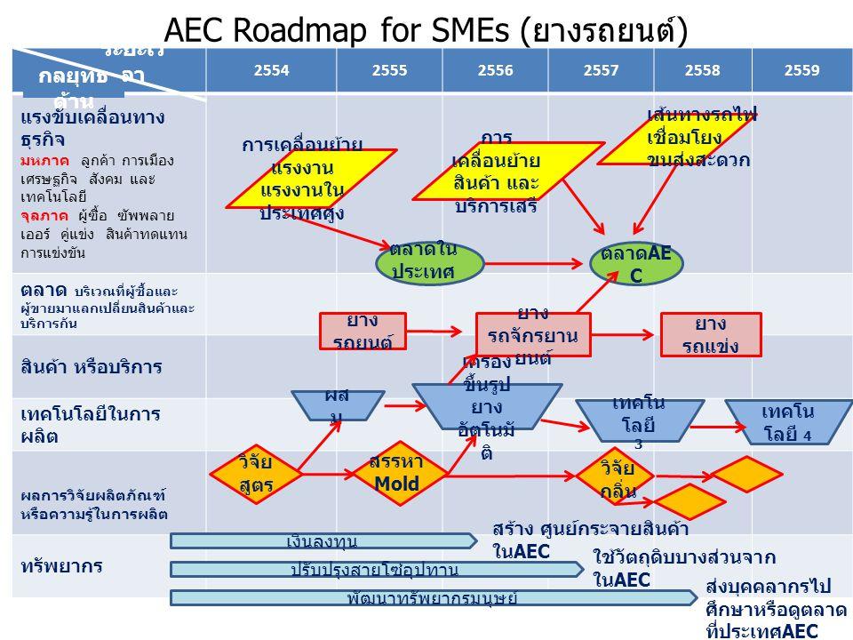 AEC Roadmap for SMEs ( ยางรถยนต์ ) 255425552556255725582559 แรงขับเคลื่อนทาง ธุรกิจ มหภาค ลูกค้า การเมือง เศรษฐกิจ สังคม และ เทคโนโลยี จุลภาค ผู้ซื้อ