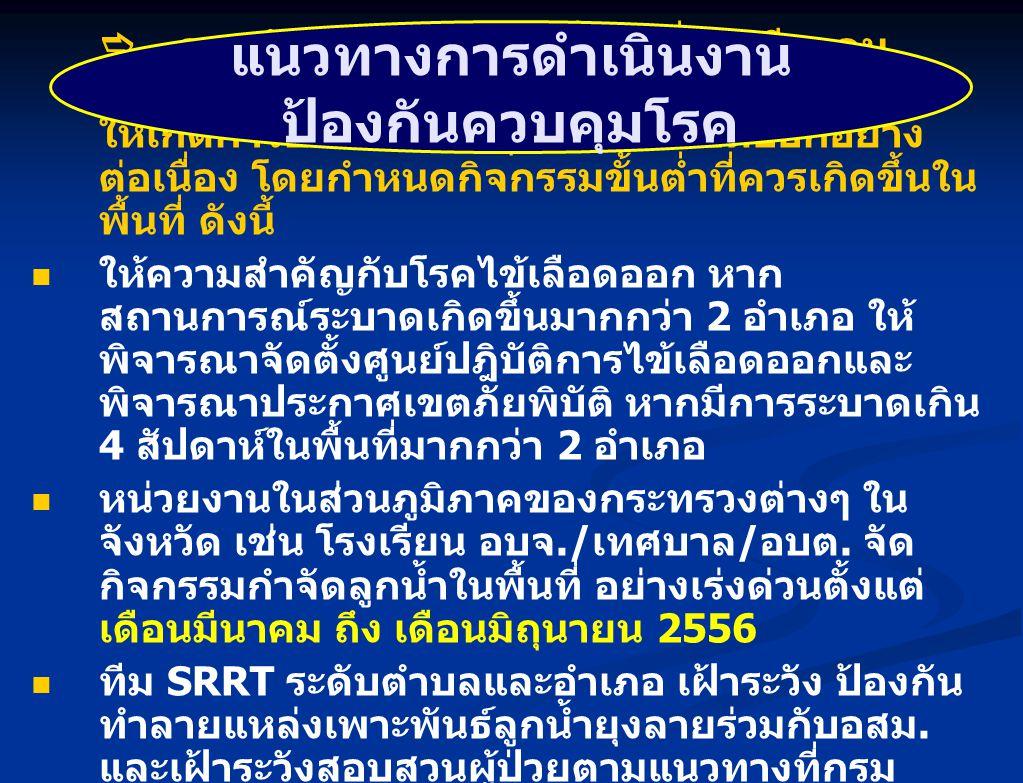  คณะรัฐมนตรีได้มีมติเมื่อวันที่ 12 มีนาคม 2556 ให้ทุกกระทรวงดำเนินการส่งเสริมสนับสนุน ให้เกิดการป้องกันควบคุมโรคไข้เลือดออกอย่าง ต่อเนื่อง โดยกำหนดกิ