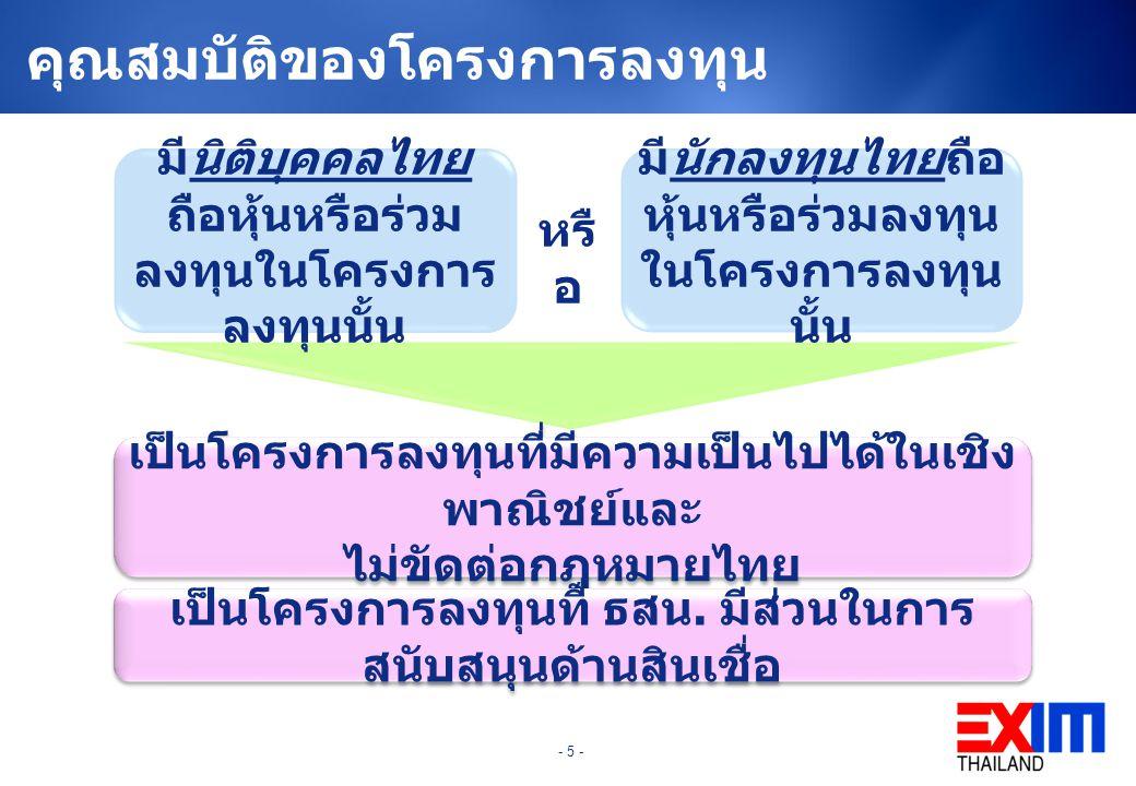- 5 - คุณสมบัติของโครงการลงทุน มีนิติบุคคลไทย ถือหุ้นหรือร่วม ลงทุนในโครงการ ลงทุนนั้น มีนักลงทุนไทยถือ หุ้นหรือร่วมลงทุน ในโครงการลงทุน นั้น เป็นโครงการลงทุนที่มีความเป็นไปได้ในเชิง พาณิชย์และ ไม่ขัดต่อกฎหมายไทย เป็นโครงการลงทุนที่ ธสน.
