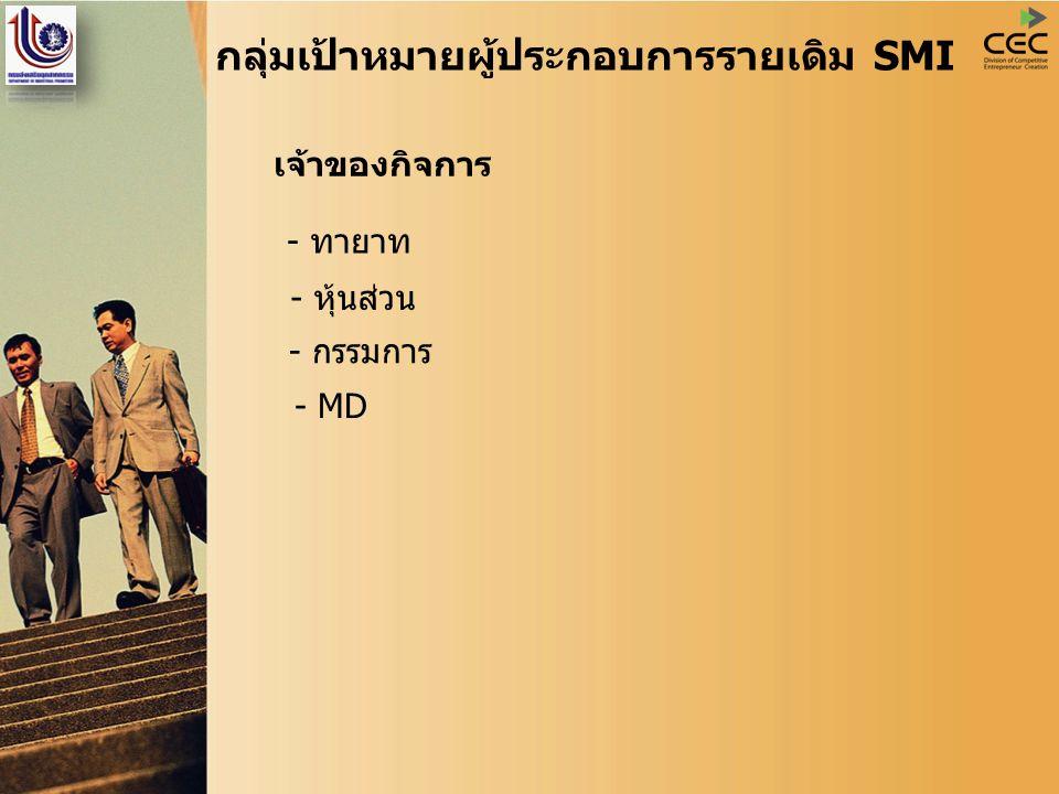 กลุ่มเป้าหมายผู้ประกอบการรายเดิม SMI เจ้าของกิจการ - ทายาท - กรรมการ - หุ้นส่วน - MD