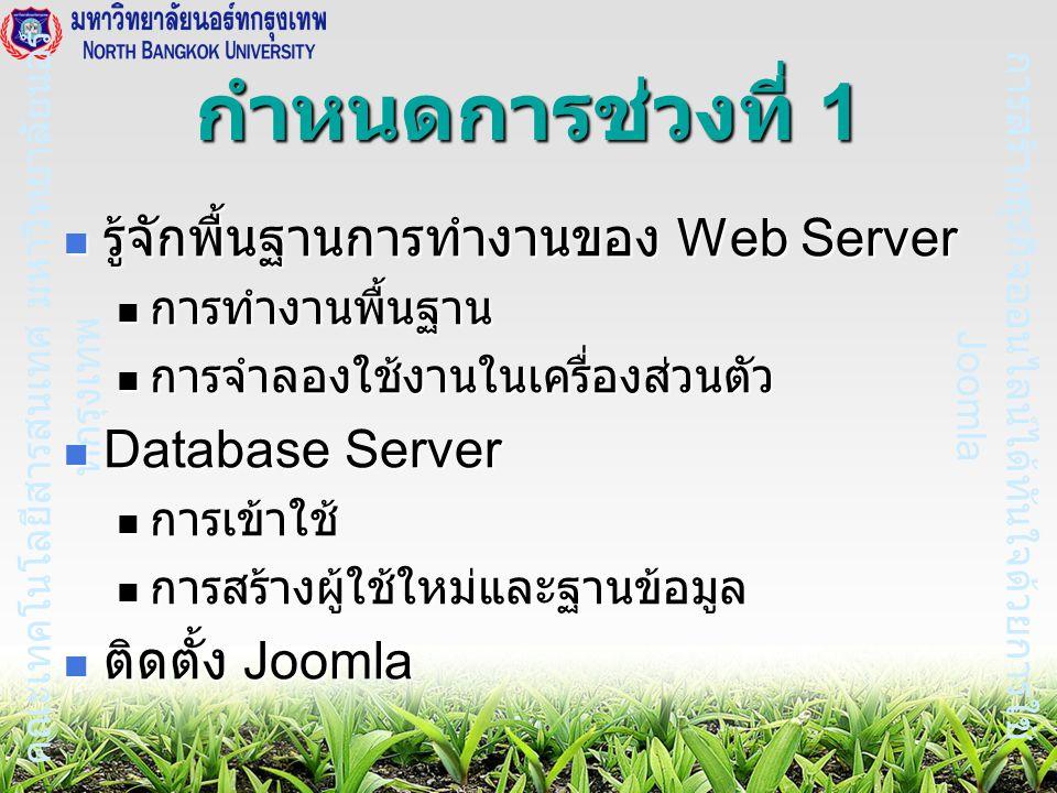 การสร้างธุรกิจออนไลน์ได้ทันใจด้วยการใช้ Joomla คณะเทคโนโลยีสารสนเทศ มหาวิทยาลัยนอร์ ทกรุงเทพ กำหนดการช่วงที่ 1 รู้จักพื้นฐานการทำงานของ Web Server รู้จักพื้นฐานการทำงานของ Web Server การทำงานพื้นฐาน การทำงานพื้นฐาน การจำลองใช้งานในเครื่องส่วนตัว การจำลองใช้งานในเครื่องส่วนตัว Database Server Database Server การเข้าใช้ การเข้าใช้ การสร้างผู้ใช้ใหม่และฐานข้อมูล การสร้างผู้ใช้ใหม่และฐานข้อมูล ติดตั้ง Joomla ติดตั้ง Joomla