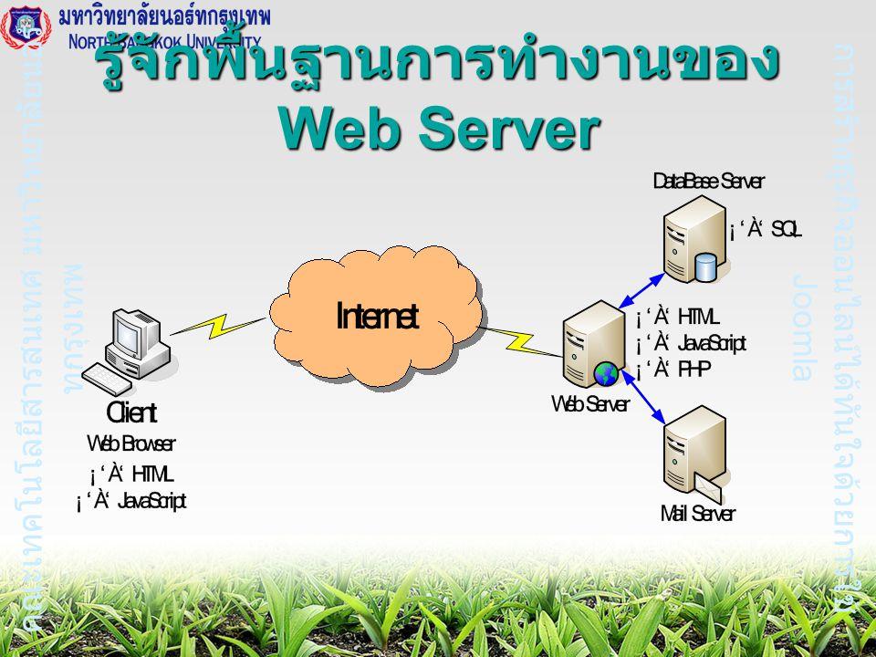 การสร้างธุรกิจออนไลน์ได้ทันใจด้วยการใช้ Joomla คณะเทคโนโลยีสารสนเทศ มหาวิทยาลัยนอร์ ทกรุงเทพ รู้จักพื้นฐานการทำงานของ Web Server