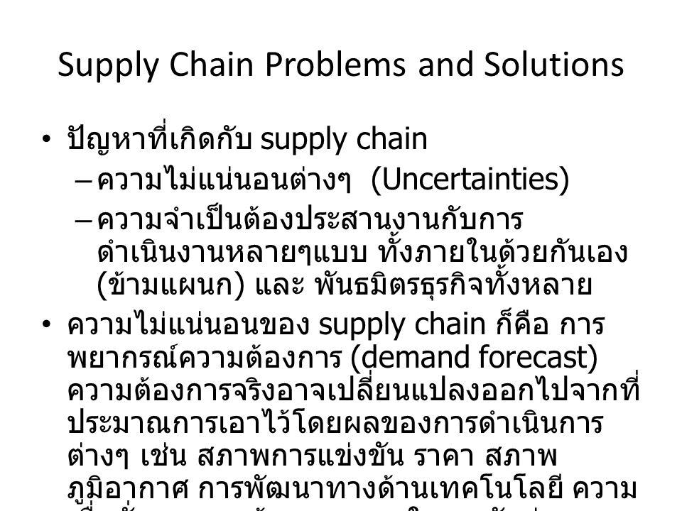 Supply Chain Problems and Solutions ปัญหาที่เกิดกับ supply chain – ความไม่แน่นอนต่างๆ (Uncertainties) – ความจำเป็นต้องประสานงานกับการ ดำเนินงานหลายๆแบบ ทั้งภายในด้วยกันเอง ( ข้ามแผนก ) และ พันธมิตรธุรกิจทั้งหลาย ความไม่แน่นอนของ supply chain ก็คือ การ พยากรณ์ความต้องการ (demand forecast) ความต้องการจริงอาจเปลี่ยนแปลงออกไปจากที่ ประมาณการเอาไว้โดยผลของการดำเนินการ ต่างๆ เช่น สภาพการแข่งขัน ราคา สภาพ ภูมิอากาศ การพัฒนาทางด้านเทคโนโลยี ความ เชื่อมั่น ของลูกค้า ระยะเวลาในการจัดส่ง และ อื่นๆ