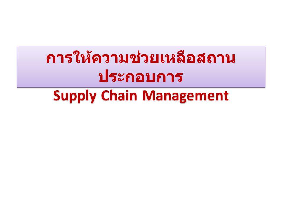 การให้ความช่วยเหลือสถาน ประกอบการ Supply Chain Management การให้ความช่วยเหลือสถาน ประกอบการ Supply Chain Management
