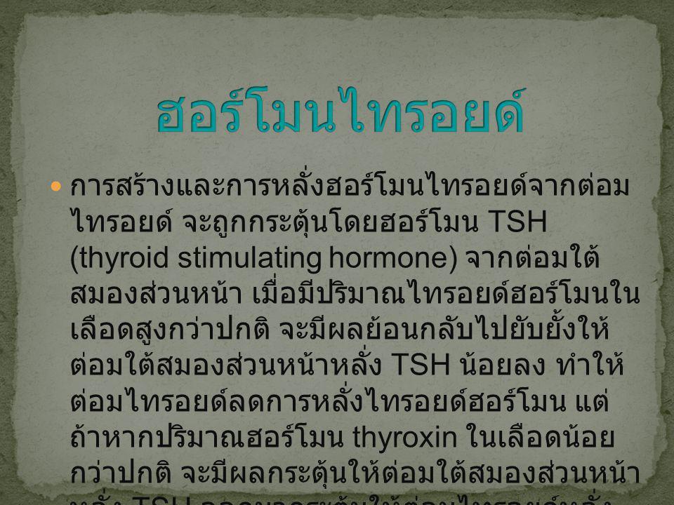 การสร้างและการหลั่งฮอร์โมนไทรอยด์จากต่อม ไทรอยด์ จะถูกกระตุ้นโดยฮอร์โมน TSH (thyroid stimulating hormone) จากต่อมใต้ สมองส่วนหน้า เมื่อมีปริมาณไทรอยด์