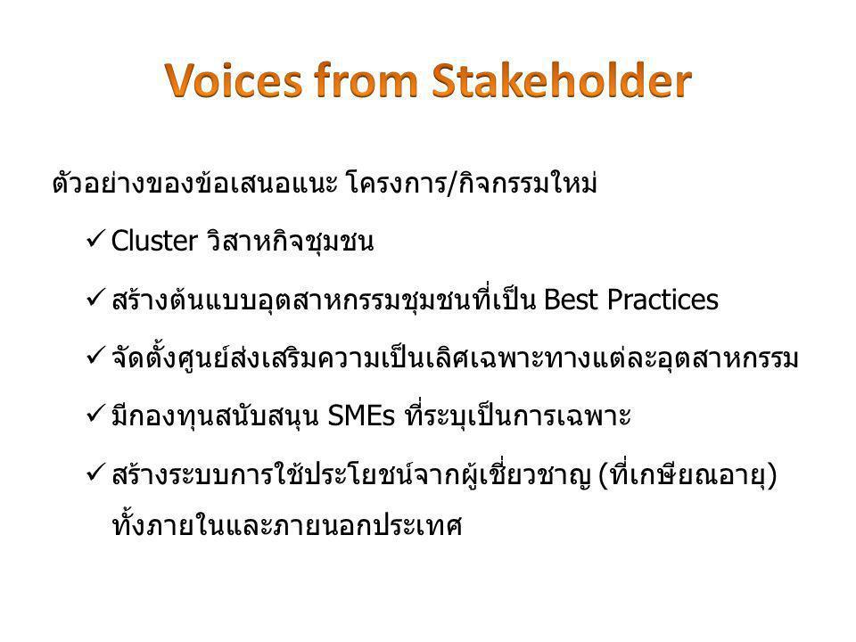 ตัวอย่างของข้อเสนอแนะ โครงการ/กิจกรรมใหม่ Cluster วิสาหกิจชุมชน สร้างต้นแบบอุตสาหกรรมชุมชนที่เป็น Best Practices จัดตั้งศูนย์ส่งเสริมความเป็นเลิศเฉพาะทางแต่ละอุตสาหกรรม มีกองทุนสนับสนุน SMEs ที่ระบุเป็นการเฉพาะ สร้างระบบการใช้ประโยชน์จากผู้เชี่ยวชาญ (ที่เกษียณอายุ) ทั้งภายในและภายนอกประเทศ