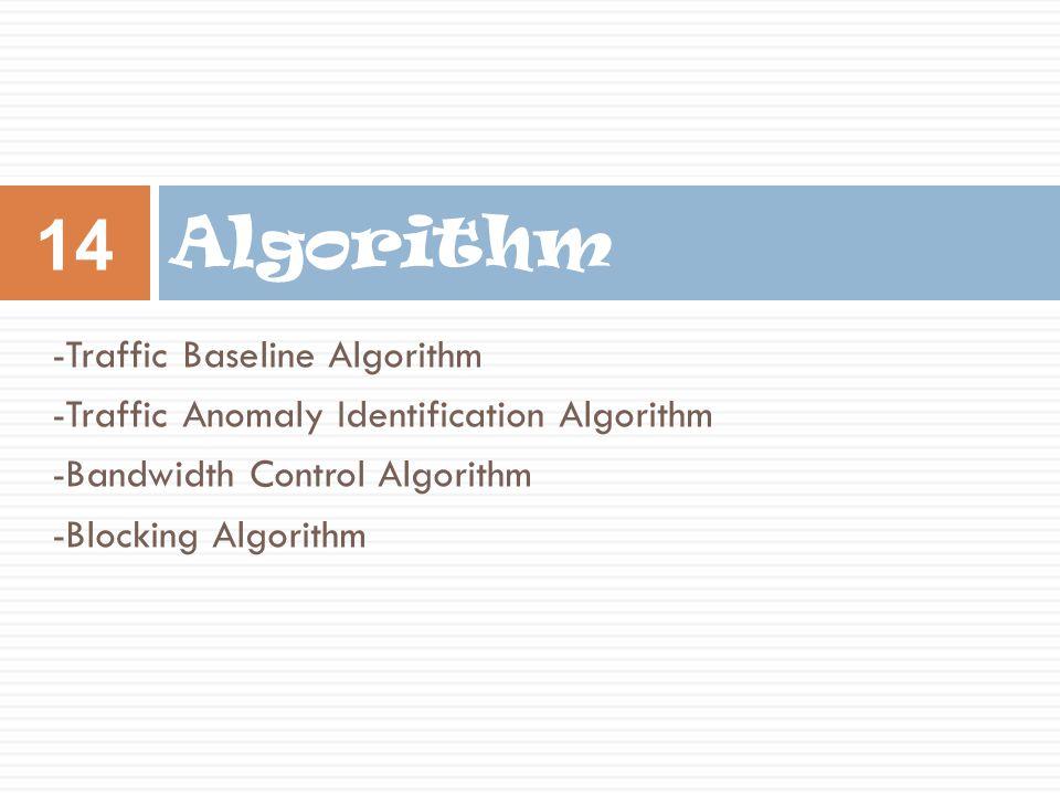 -Traffic Baseline Algorithm -Traffic Anomaly Identification Algorithm -Bandwidth Control Algorithm -Blocking Algorithm Algorithm 14