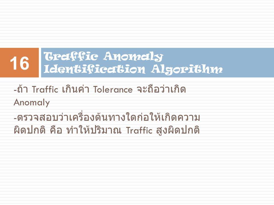 - ถ้า Traffic เกินค่า Tolerance จะถือว่าเกิด Anomaly - ตรวจสอบว่าเครื่องต้นทางใดก่อให้เกิดความ ผิดปกติ คือ ทำให้ปริมาณ Traffic สูงผิดปกติ Traffic Anom