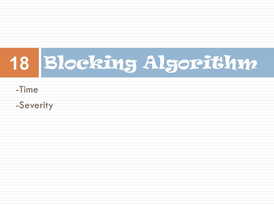-Time -Severity Blocking Algorithm 18