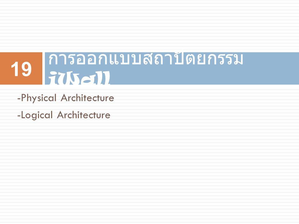 การออกแบบสถาปัตยกรรม iWall 19 -Physical Architecture -Logical Architecture