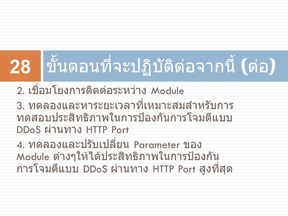 2. เชื่อมโยงการติดต่อระหว่าง Module 3. ทดลองและหาระยะเวลาที่เหมาะสมสำหรับการ ทดสอบประสิทธิภาพในการป้องกันการโจมตีแบบ DDoS ผ่านทาง HTTP Port 4. ทดลองแล