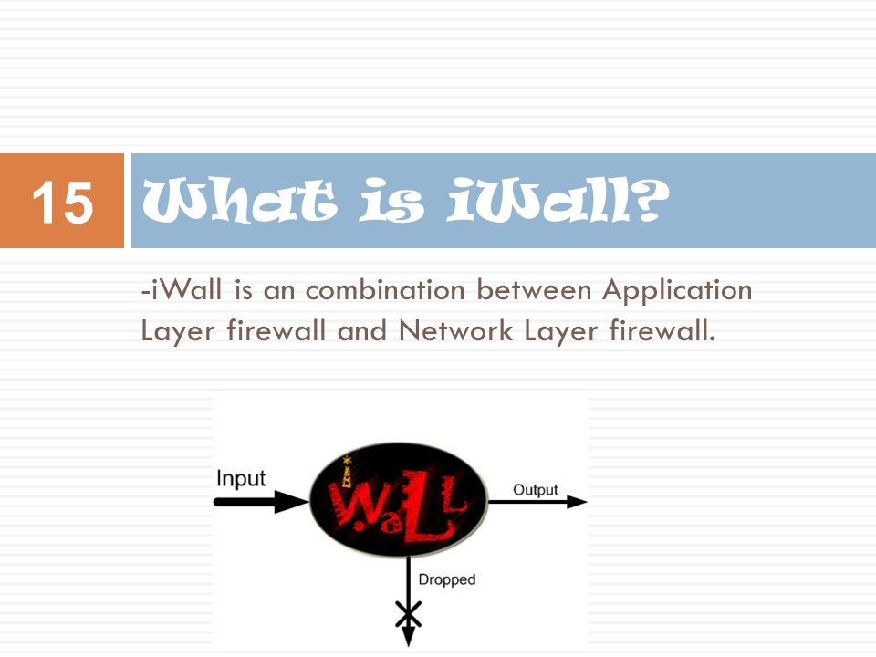 -iWall is an combination between Application Layer firewall and Network Layer firewall.