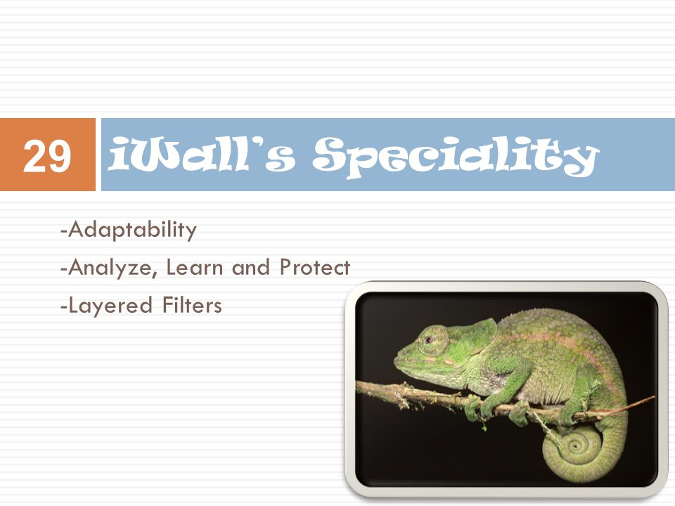 -Adaptability -Analyze, Learn and Protect -Layered Filters iWall's Speciality 29
