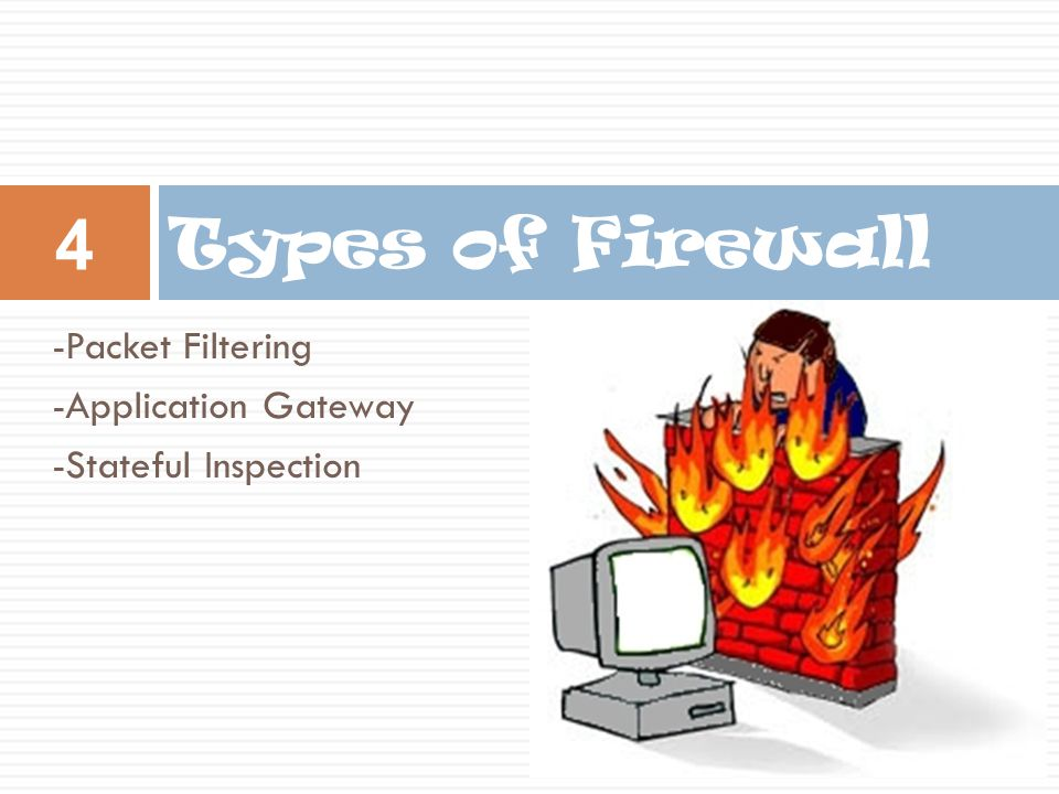Types of Firewall -Packet Filtering -Application Gateway -Stateful Inspection 4