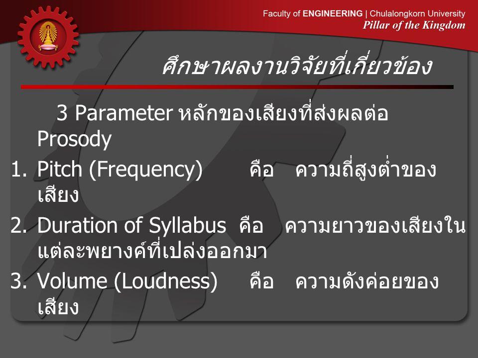 ศึกษาผลงานวิจัยที่เกี่ยวข้อง 3 Parameter หลักของเสียงที่ส่งผลต่อ Prosody 1.Pitch (Frequency) คือ ความถี่สูงต่ำของ เสียง 2.Duration of Syllabus คือ ความยาวของเสียงใน แต่ละพยางค์ที่เปล่งออกมา 3.Volume (Loudness) คือ ความดังค่อยของ เสียง