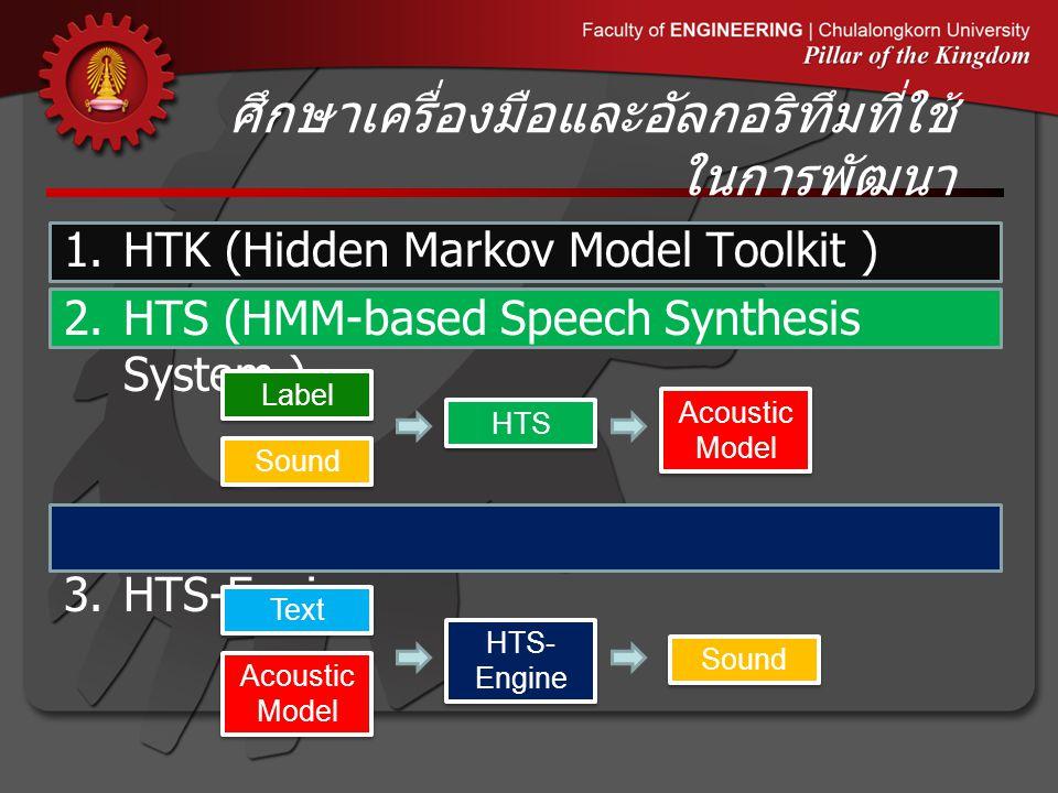 ศึกษาเครื่องมือและอัลกอริทึมที่ใช้ ในการพัฒนา 1.HTK (Hidden Markov Model Toolkit ) 2.HTS (HMM-based Speech Synthesis System ) 3.HTS-Engine Label Sound HTS Acoustic Model Text HTS- Engine Sound