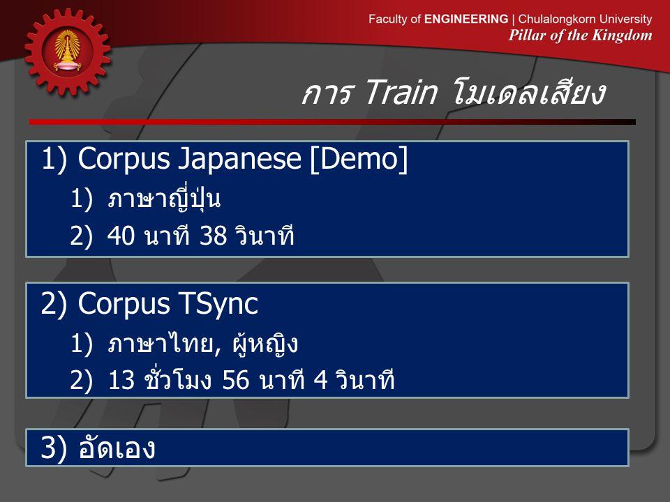 การ Train โมเดลเสียง 1)Corpus Japanese [Demo] 1) ภาษาญี่ปุ่น 2)40 นาที 38 วินาที 2)Corpus TSync 1) ภาษาไทย, ผู้หญิง 2)13 ชั่วโมง 56 นาที 4 วินาที 3) อัดเอง
