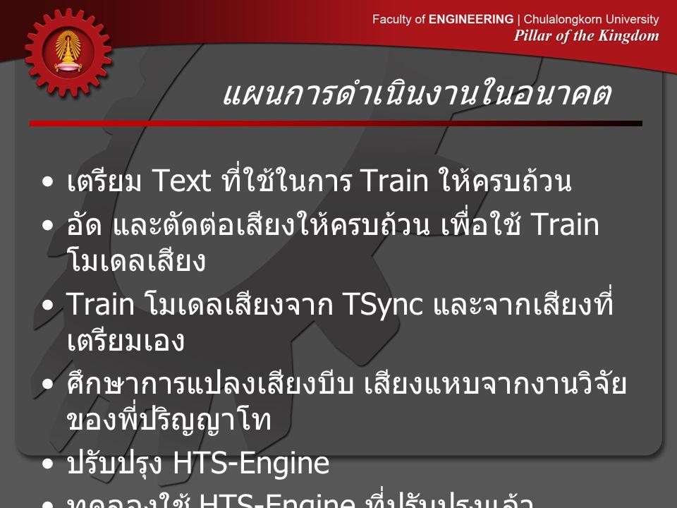 เตรียม Text ที่ใช้ในการ Train ให้ครบถ้วน อัด และตัดต่อเสียงให้ครบถ้วน เพื่อใช้ Train โมเดลเสียง Train โมเดลเสียงจาก TSync และจากเสียงที่ เตรียมเอง ศึกษาการแปลงเสียงบีบ เสียงแหบจากงานวิจัย ของพี่ปริญญาโท ปรับปรุง HTS-Engine ทดลองใช้ HTS-Engine ที่ปรับปรุงแล้ว