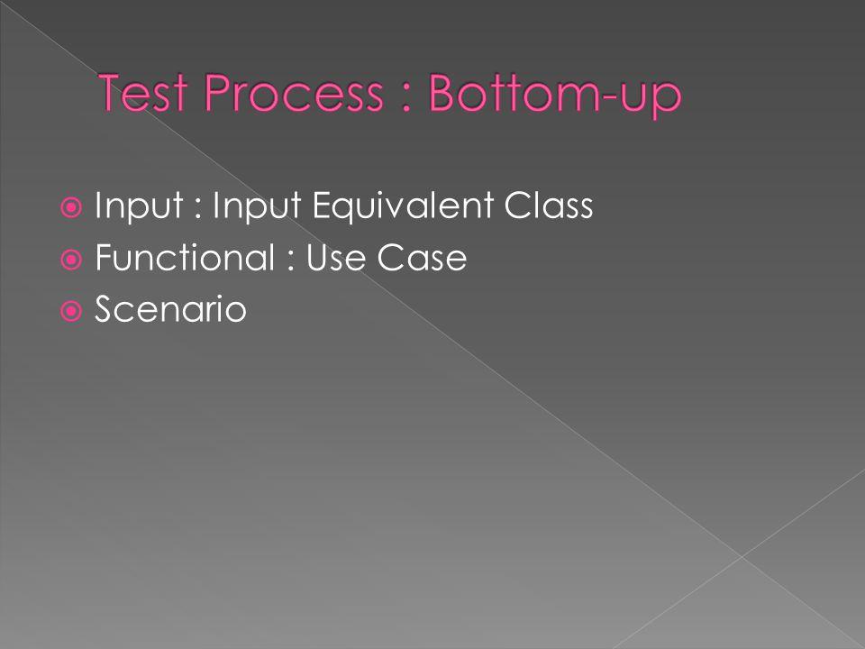  Input : Input Equivalent Class  Functional : Use Case  Scenario