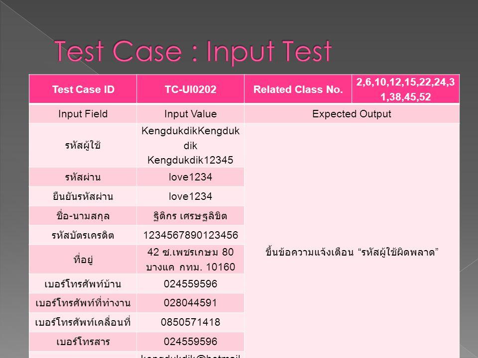Test Case IDTC-UI0202Related Class No.