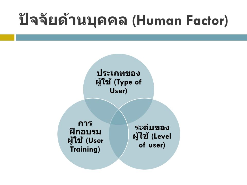 ปัจจัยด้านบุคคล (Human Factor) ประเภทของ ผู้ใช้ (Type of User) ระดับของ ผู้ใช้ (Level of user) การ ฝึกอบรม ผู้ใช้ (User Training)