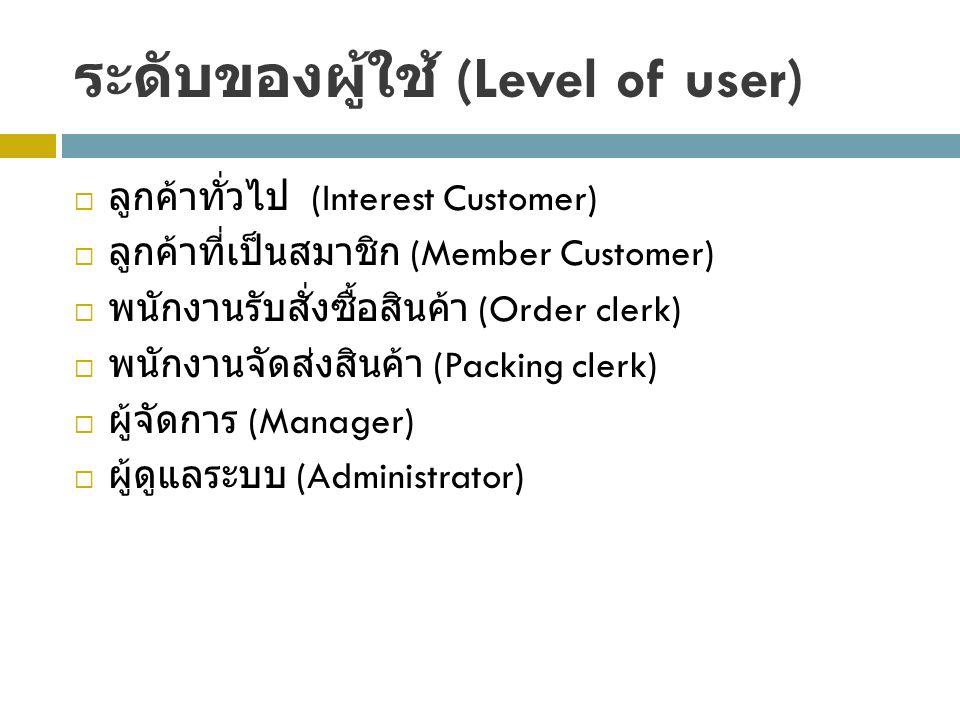 ระดับของผู้ใช้ (Level of user)  ลูกค้าทั่วไป (Interest Customer)  ลูกค้าที่เป็นสมาชิก (Member Customer)  พนักงานรับสั่งซื้อสินค้า (Order clerk)  พนักงานจัดส่งสินค้า (Packing clerk)  ผู้จัดการ (Manager)  ผู้ดูแลระบบ (Administrator)