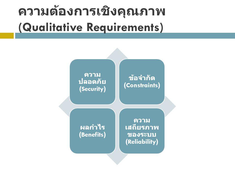 ความต้องการเชิงคุณภาพ (Qualitative Requirements) ความ ปลอดภัย (Security) ข้อจำกัด (Constraints) ผลกำไร (Benefits) ความ เสถียรภาพ ของระบบ (Reliability)
