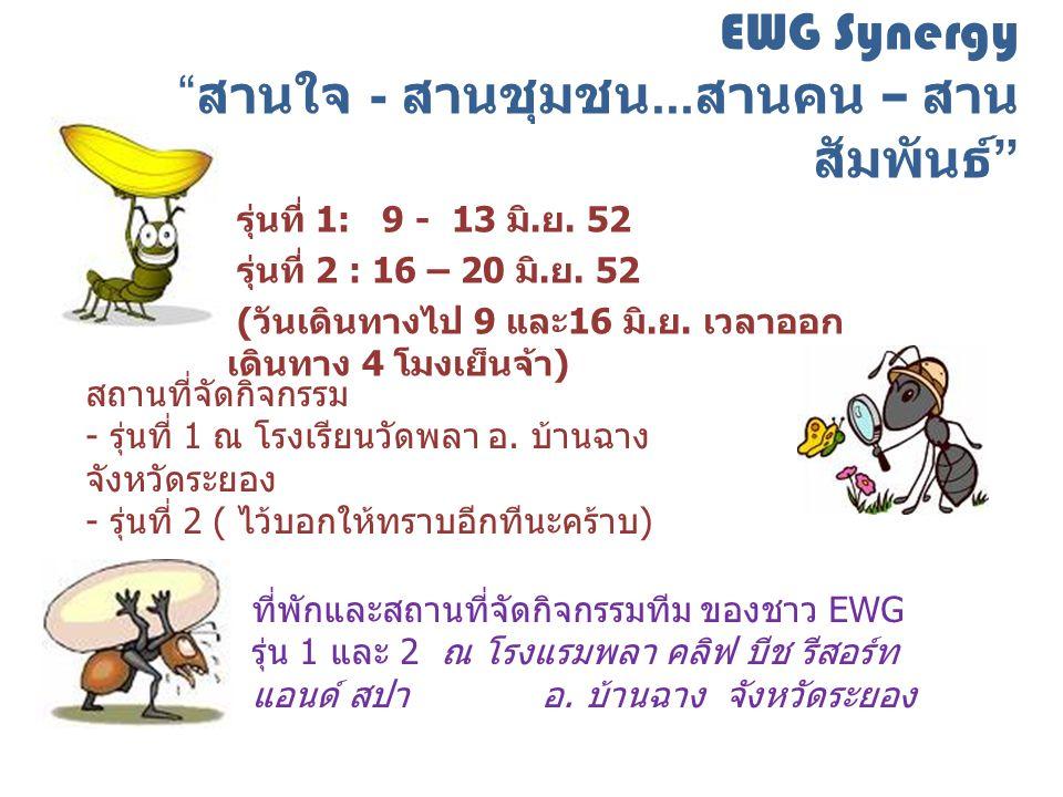 """EWG Synergy """" สานใจ - สานชุมชน... สานคน – สาน สัมพันธ์ """" รุ่นที่ 1: 9 - 13 มิ. ย. 52 รุ่นที่ 2 : 16 – 20 มิ. ย. 52 ( วันเดินทางไป 9 และ 16 มิ. ย. เวลา"""