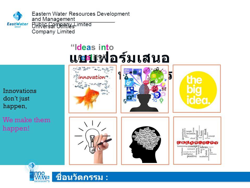 Ideas into reality InnoWAVE Project # Season2 สมาชิกใน กลุ่ม : ชื่อ - สกุลตำแหน่งสังกัดหน่วยงาน