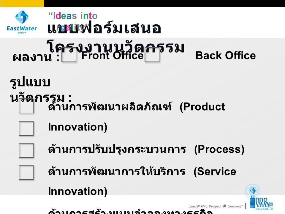 Ideas into reality InnoWAVE Project # Season2 รูปแบบ นวัตกรรม : ด้านการพัฒนาผลิตภัณฑ์ (Product Innovation) ด้านการปรับปรุงกระบวนการ (Process) ด้านการพัฒนาการให้บริการ (Service Innovation) ด้านการสร้างแบบจำลองทางธุรกิจ (Business Model Innovation) ผลงาน : Front OfficeBack Office