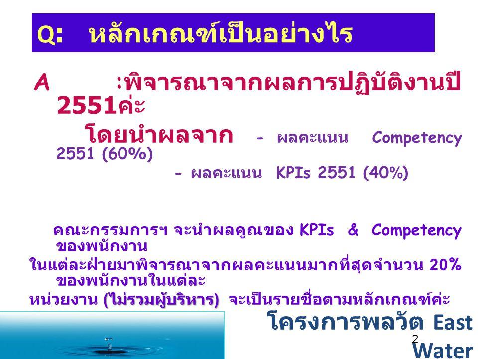 Q: หลักเกณฑ์เป็นอย่างไร A : พิจารณาจากผลการปฏิบัติงานปี 2551 ค่ะ โดยนำผลจาก - ผลคะแนน Competency 2551 (60%) - ผลคะแนน KPIs 2551 (40%) คณะกรรมการฯ จะนำผลคูณของ KPIs & Competency ของพนักงาน ในแต่ละฝ่ายมาพิจารณาจากผลคะแนนมากที่สุดจำนวน 20% ของพนักงานในแต่ละ ( ไม่รวมผู้บริหาร ) หน่วยงาน ( ไม่รวมผู้บริหาร ) จะเป็นรายชื่อตามหลักเกณฑ์ค่ะ 2 โครงการพลวัต East Water