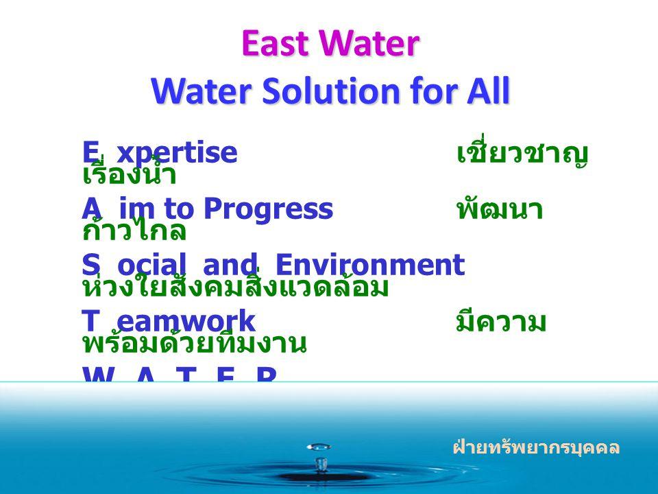 East Water Water Solution for All E xpertise เชี่ยวชาญ เรื่องน้ำ A im to Progress พัฒนา ก้าวไกล S ocial and Environment ห่วงใยสังคมสิ่งแวดล้อม T eamwork มีความ พร้อมด้วยทีมงาน W A T E R ฝ่ายทรัพยากรบุคคล