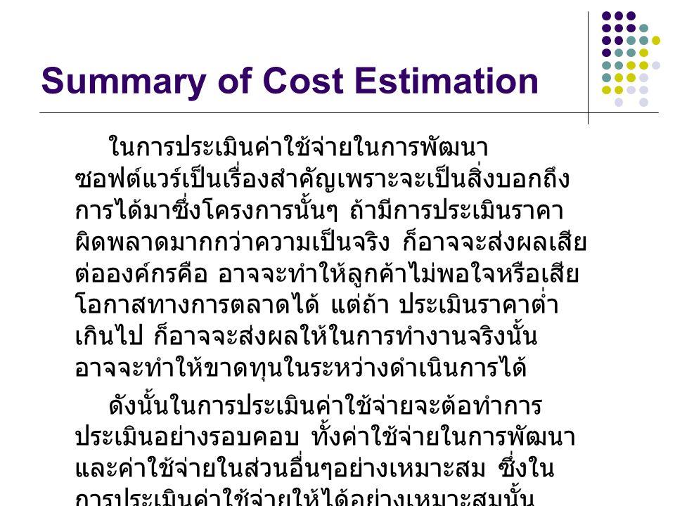 Summary of Cost Estimation ในการประเมินค่าใช้จ่ายในการพัฒนา ซอฟต์แวร์เป็นเรื่องสำคัญเพราะจะเป็นสิ่งบอกถึง การได้มาซึ่งโครงการนั้นๆ ถ้ามีการประเมินราคา ผิดพลาดมากกว่าความเป็นจริง ก็อาจจะส่งผลเสีย ต่อองค์กรคือ อาจจะทำให้ลูกค้าไม่พอใจหรือเสีย โอกาสทางการตลาดได้ แต่ถ้า ประเมินราคาต่ำ เกินไป ก็อาจจะส่งผลให้ในการทำงานจริงนั้น อาจจะทำให้ขาดทุนในระหว่างดำเนินการได้ ดังนั้นในการประเมินค่าใช้จ่ายจะต้อทำการ ประเมินอย่างรอบคอบ ทั้งค่าใช้จ่ายในการพัฒนา และค่าใช้จ่ายในส่วนอื่นๆอย่างเหมาะสม ซึ่งใน การประเมินค่าใช้จ่ายให้ได้อย่างเหมาะสมนั้น จะต้องเลือกวิธีการในการประเมินราคาที่เหมาะสม กับองค์กรด้วย การประเมินราคานั้นถึงจะมี ประสิทธิภาพสูงสุด