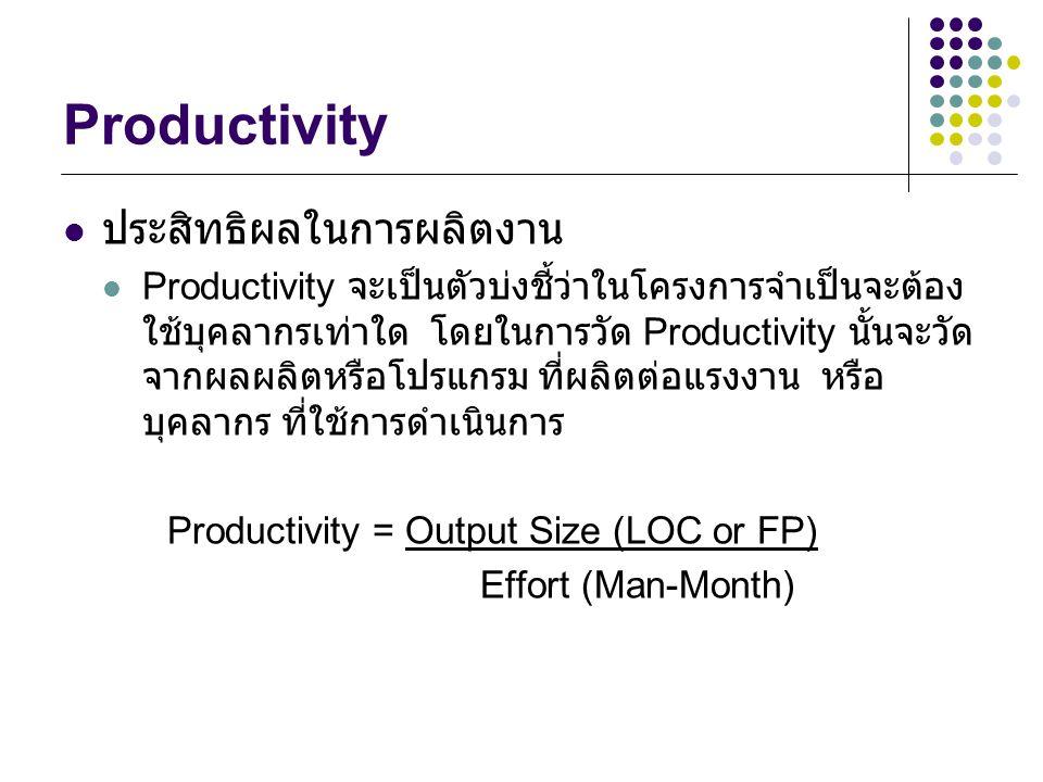 Productivity ประสิทธิผลในการผลิตงาน Productivity จะเป็นตัวบ่งชี้ว่าในโครงการจำเป็นจะต้อง ใช้บุคลากรเท่าใด โดยในการวัด Productivity นั้นจะวัด จากผลผลิตหรือโปรแกรม ที่ผลิตต่อแรงงาน หรือ บุคลากร ที่ใช้การดำเนินการ Productivity = Output Size (LOC or FP) Effort (Man-Month)