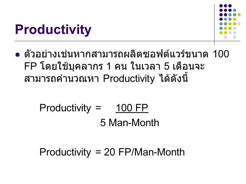 Productivity ตัวอย่างเช่นหากสามารถผลิตซอฟต์แวร์ขนาด 100 FP โดยใช้บุคลากร 1 คน ในเวลา 5 เดือนจะ สามารถคำนวณหา Productivity ได้ดังนี้ Productivity = 100 FP 5 Man-Month Productivity = 20 FP/Man-Month
