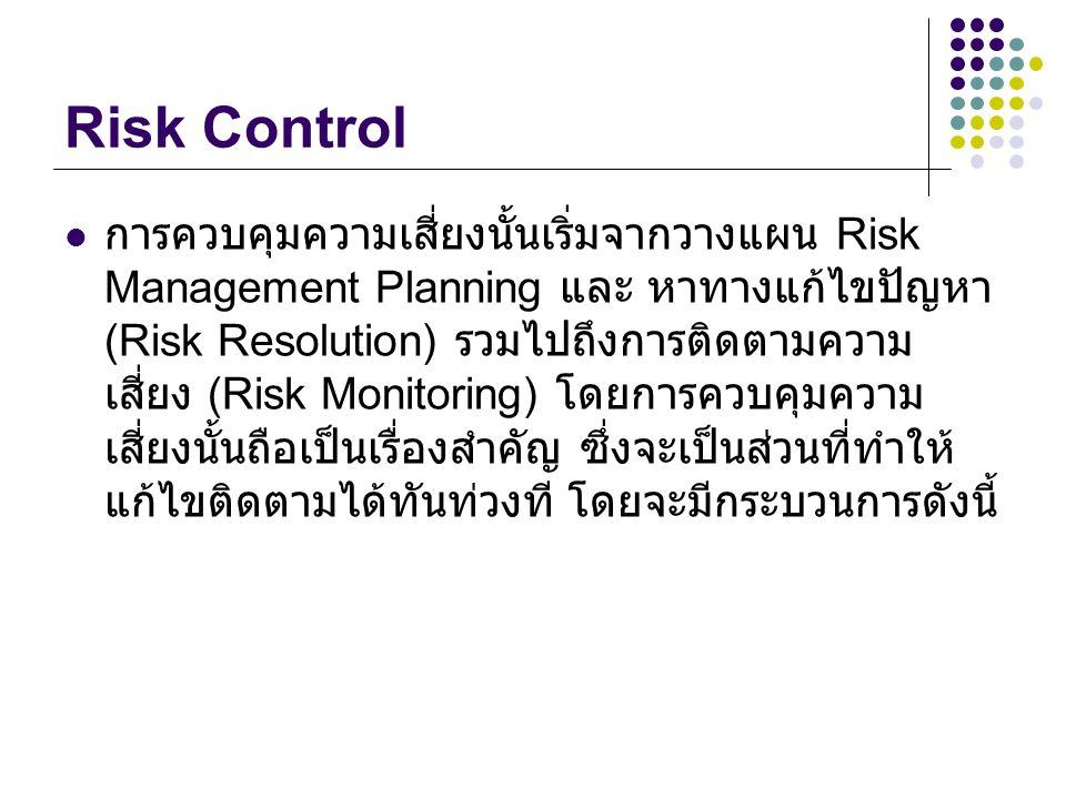Risk Control การควบคุมความเสี่ยงนั้นเริ่มจากวางแผน Risk Management Planning และ หาทางแก้ไขปัญหา (Risk Resolution) รวมไปถึงการติดตามความ เสี่ยง (Risk Monitoring) โดยการควบคุมความ เสี่ยงนั้นถือเป็นเรื่องสำคัญ ซึ่งจะเป็นส่วนที่ทำให้ แก้ไขติดตามได้ทันท่วงที โดยจะมีกระบวนการดังนี้