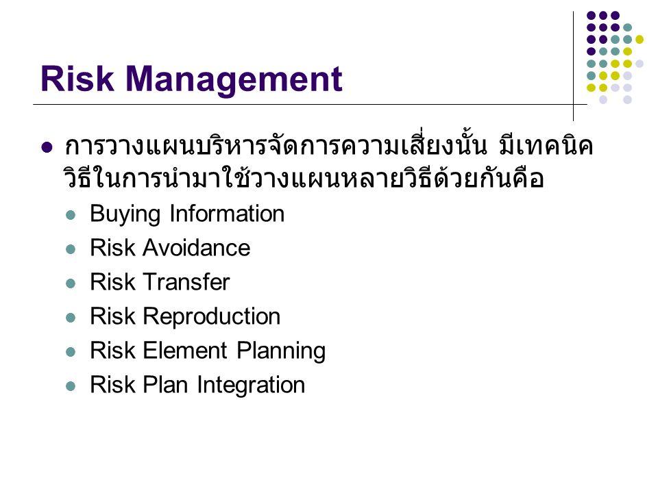Risk Management การวางแผนบริหารจัดการความเสี่ยงนั้น มีเทคนิค วิธีในการนำมาใช้วางแผนหลายวิธีด้วยกันคือ Buying Information Risk Avoidance Risk Transfer Risk Reproduction Risk Element Planning Risk Plan Integration