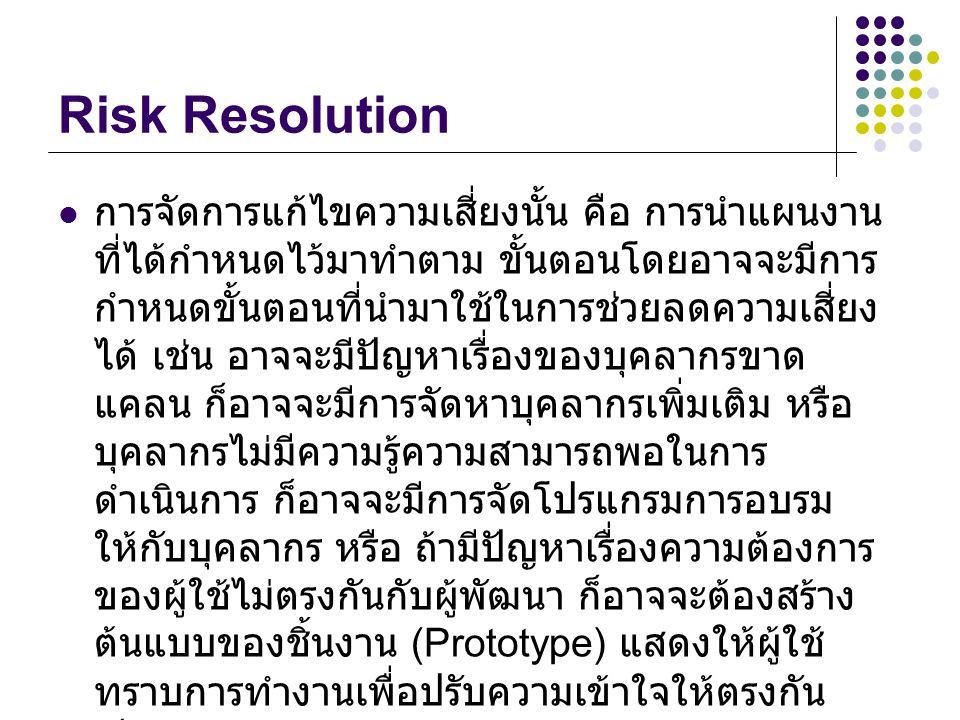 Risk Resolution การจัดการแก้ไขความเสี่ยงนั้น คือ การนำแผนงาน ที่ได้กำหนดไว้มาทำตาม ขั้นตอนโดยอาจจะมีการ กำหนดขั้นตอนที่นำมาใช้ในการช่วยลดความเสี่ยง ได้ เช่น อาจจะมีปัญหาเรื่องของบุคลากรขาด แคลน ก็อาจจะมีการจัดหาบุคลากรเพิ่มเติม หรือ บุคลากรไม่มีความรู้ความสามารถพอในการ ดำเนินการ ก็อาจจะมีการจัดโปรแกรมการอบรม ให้กับบุคลากร หรือ ถ้ามีปัญหาเรื่องความต้องการ ของผู้ใช้ไม่ตรงกันกับผู้พัฒนา ก็อาจจะต้องสร้าง ต้นแบบของชิ้นงาน (Prototype) แสดงให้ผู้ใช้ ทราบการทำงานเพื่อปรับความเข้าใจให้ตรงกัน เป็นต้น