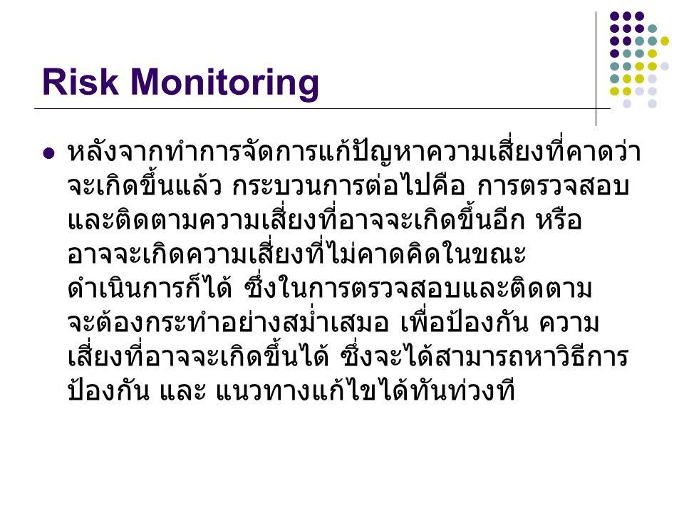 Risk Monitoring หลังจากทำการจัดการแก้ปัญหาความเสี่ยงที่คาดว่า จะเกิดขึ้นแล้ว กระบวนการต่อไปคือ การตรวจสอบ และติดตามความเสี่ยงที่อาจจะเกิดขึ้นอีก หรือ อาจจะเกิดความเสี่ยงที่ไม่คาดคิดในขณะ ดำเนินการก็ได้ ซึ่งในการตรวจสอบและติดตาม จะต้องกระทำอย่างสม่ำเสมอ เพื่อป้องกัน ความ เสี่ยงที่อาจจะเกิดขึ้นได้ ซึ่งจะได้สามารถหาวิธีการ ป้องกัน และ แนวทางแก้ไขได้ทันท่วงที