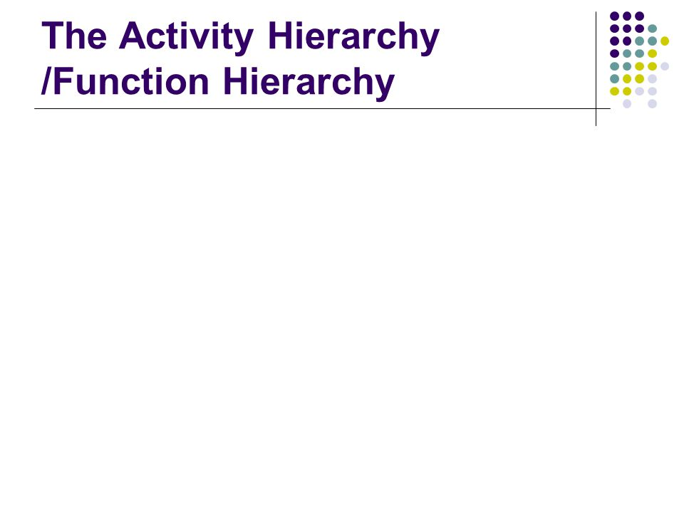 The Activity Hierarchy /Function Hierarchy