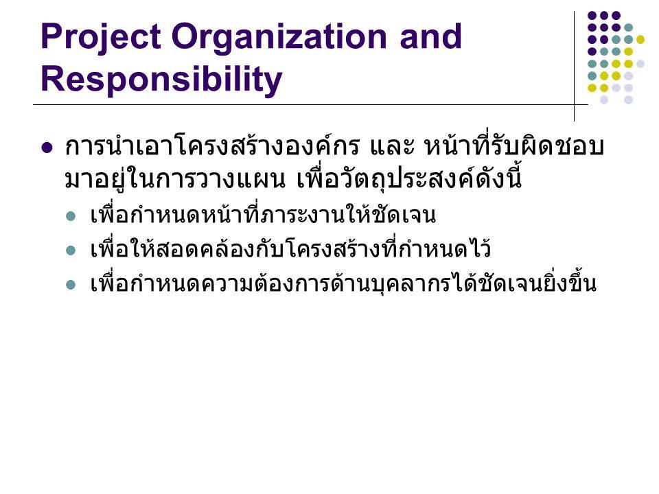 Project Organization and Responsibility การนำเอาโครงสร้างองค์กร และ หน้าที่รับผิดชอบ มาอยู่ในการวางแผน เพื่อวัตถุประสงค์ดังนี้ เพื่อกำหนดหน้าที่ภาระงา