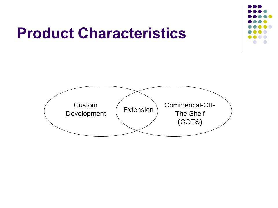 Product Characteristics Custom Development Software เป็นลักษณะของระบบงานที่พัฒนาขึ้นมาเองทั้งหมด ส่วนใหญ่พบใน In-House Development ตอบสนองความต้องการที่แท้จริงขององค์กร Commercial-Off The Shelf : COTS เป็นซอฟต์แวร์สำเร็จรูปที่พร้อมใช้งาน เช่น Ms Office, Lotus Notes COTS-Extension ลักษณะของระบบงานที่มีการนำซอฟต์แวร์สำเร็จรูป นำมา Customize หรือ ทำการเขียนเพิ่มเติม (Extension)
